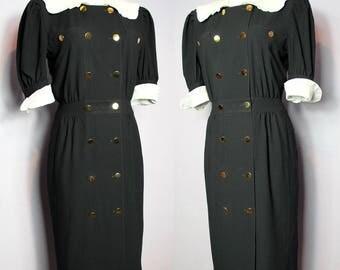 Sale /// Chic 80's ESCADA By MARGARETHA LEY Schoolgirl Secretary Pencil Dress Eu 38 Uk 10