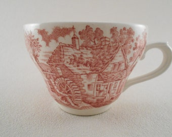 Vintage Teacup - Broadhurst  - Made in England – Red Ironstone Transferware
