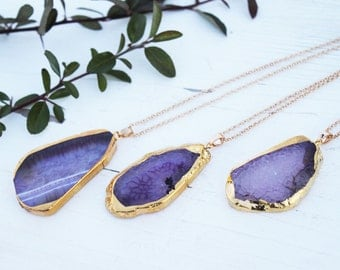 Agate necklace violet gold-plated