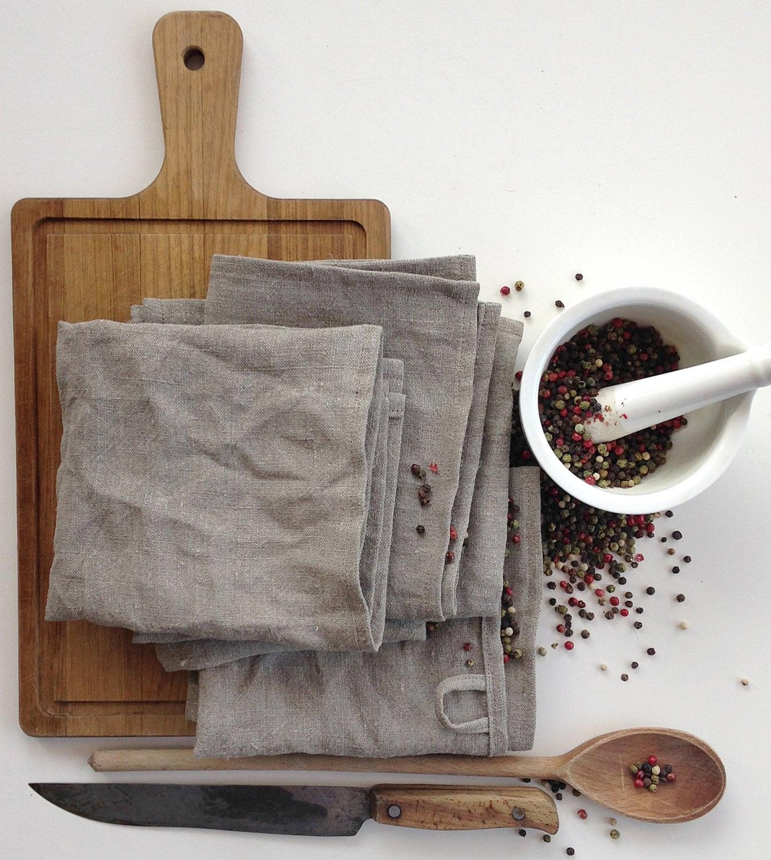 Kitchen Linen Set: Rough Natural Linen Kitchen Towels Dense Natural Burlap Set