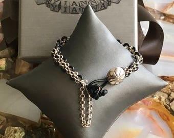 Bracelet-Sterling Silver Bracelet-Leather Bracelet