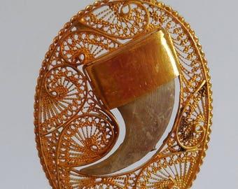 Pendant old claw, (Jaguar black real Guyana), 18 ct gold