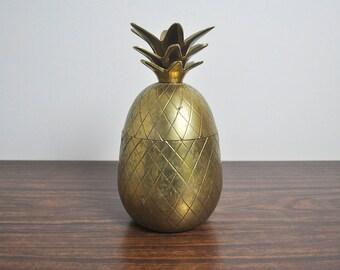 Vintage Brass Pineapple, Large Hollywood Regency Pineapple Jar