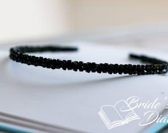 Wedding hair jewelry, bridal wreath, bridal hairband with black transparent pearls