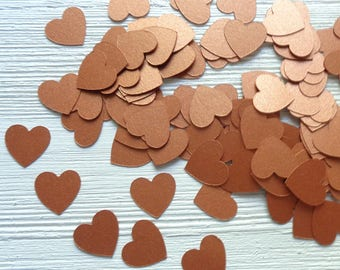 Metallic Copper Hearts Table Confetti Small Shiny 3/4 inch Heart Shaped Scatter for Weddings and Reception 215 Copper Cardstock Hearts