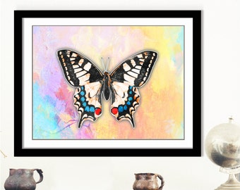 Monarch Butterfly Poster - Rainbow Butterfly, White Butterfly Art, Pastel Butterfly Print, Vintage Butterfly Art, Monarch Butterfly Poster