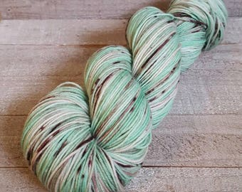 Hand Dyed Speckled Yarn ~ Mint Chocolate Chip ~