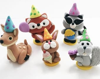 Woodland Animal Cake Topper, Woodland Baby Shower Cake Topper, Woodland Birthday Cake Topper, Woodland Cupcake Toppers, Polymer Clay