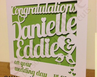 Personalised Wedding Day Paper Cut Greetings Card  |  Congratulations on your wedding day