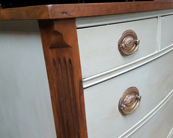 Vintage Chic Bow Front Dresser/Baby Dresser/Mahogany veneer/Hand Painted/Chest of Drawers