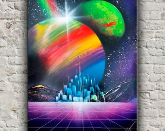Spray paint art Space painting Nerd art Geek wall art Scifi gift Astronomy art Space art Abstract painting Modern home decor Rainbow planets