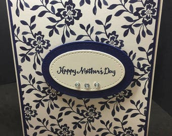 Mother's Day Card, Happy Mother's Day, Handmade Card, Floral Card, Blue, Stampin' Up! Designs