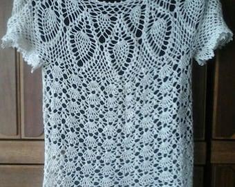 Crochet Blouse  100 % White Linen Shoulder Straps Shirt Tunic Jumper
