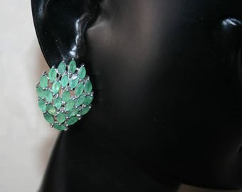 The earrings crimped Emerald (green) in Sterling Silver 925/1000