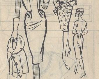 "1950s Vintage Sewing Pattern DRESS-JACKET B32"" (R525) An 'Ardanti' Original A854"