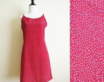 Red Grunge Polka Dot Dress Spaghetti Strap Slip Dress 90s Black and White Polka Dot Shift Dress M Studio Vintage Designer Dress Size Small