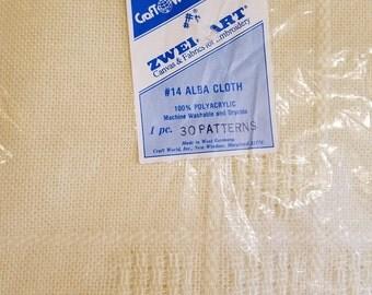 "Zweigart  #14 Alba Cloth Cream Afghan Fabric Cloth For Embroidery Cross Stitch 64"" x 56"" Made Germany"