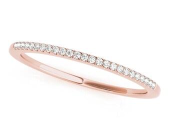 Rose Gold Wedding Band, Thin Rose Gold Ring, Rose Gold Diamond Ring, Dainty Rose Gold Band, Dainty Diamond Band, Diamond Dainty Ring in Rose