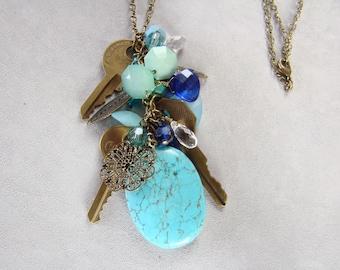 Vintage key turquoise stone filigree charm Necklace