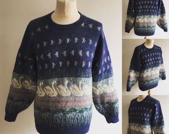 Vintage Wilow Knitwear Swan Lake Jumper - UK Size 12/US Size 8