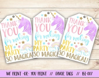Unicorn Favor Tag, Unicorn Birthday Favor Tag, Unicorn Party Favor Tag, Magical Birthday Favor Tag, Rainbow Favor Tag, Rainbow Birthday