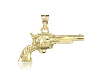 14K Solid Yellow Gold Pistol Gun Pendant - Revolver Hand Polished Necklace Charm Men's Women's