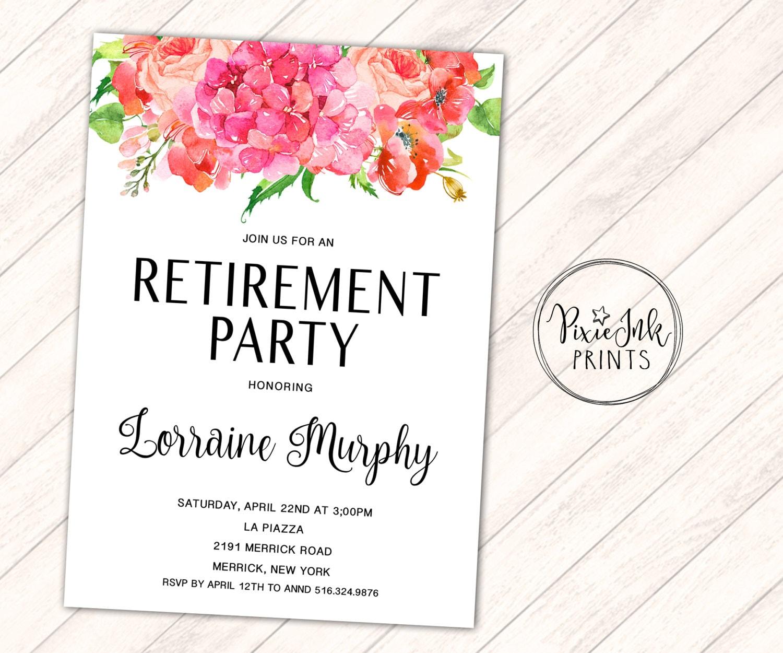 Bright Wedding Invitations: Retirement Party Invitation Bright Floral Invitation