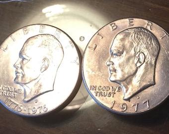 1976-D, 1977-D President Dwight D. Eisenhower Dollar Coins, Denver Mint, Circulated, Bicenntennial Dollar, Eagle Reverse, Frank Gasparro