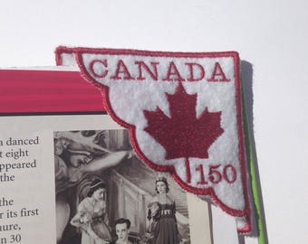 Canada Day 150 Corner Bookmark - Gift for teacher - Gift for book lover - Canada Day embroidery -Felt bookmark - Loot bag filler - Patriotic