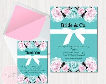 Bride & Co, Tiffany Bridal Shower Invitation, Tiffany Invite, Breakfast at Tiffany Bridal Shower, Bride and Co Bridal Shower Tiffany Bow