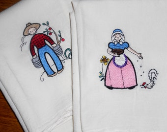 100% Cotton Dish Towels - Couple Theme - Machine Stitch Design - Made in Egypt - Set of Two Towels - Man and Woman - Country Decor