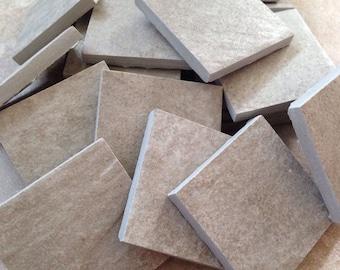 Mosaic tile supplies, set of (20) square grayish tile pieces, mosaic tiles, art supplies, mosaic craft project supplies, large mosaic tile