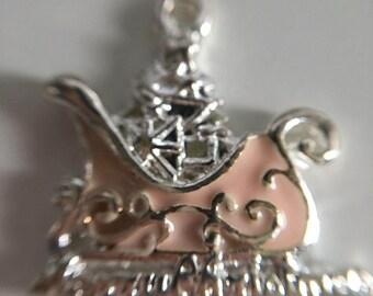 1 Pink Enamel Silver Plated Christmas Sleigh Charm Xmas Tree Presents 19x20mm