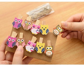 Wooden clips 10 piece set cats and owls for decorations gift packs