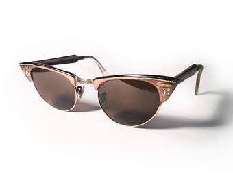 Vintage 1950's Shuron Cat Eye Sunglasses Aluminum Rose Gold
