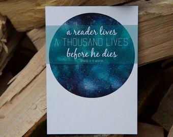 A6 Card - a reader lives a thousand lives before he dies