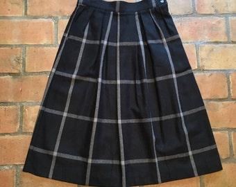 Black Plaid Wool Skirt
