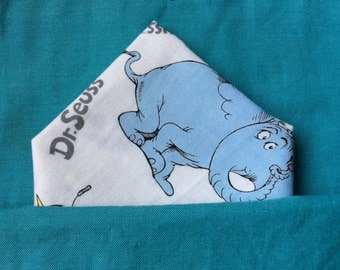 dr suess pocket square. cotton handkerchief, white pocket square, dr suess matching accessories, thing 1 & thing 2 pocket square