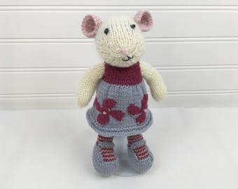 Knit Stuffed Mouse with Dress