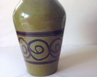 Brixham Pottery, Devon Green Glazed Vase