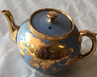 Blue Ceramic Teapot with gold decorations