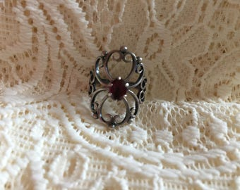 Vintage Garnet Filigree Ring
