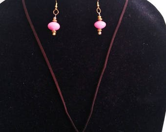 Pink and Gold Royal Earring Necklace Set