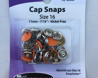 Orange Snaps-Size 16, Set of 10, Snap Source, Long Prong Cap Snaps