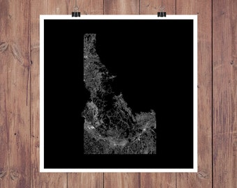 Idaho Roads High Resolution Digital Print / Map of Idaho / Idaho Print / Idaho Wall Art / Idaho Poster / Idaho Map Art / Idaho Map Print