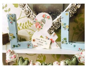 Free standing letters using Cath Kidston print