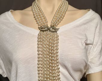 Bridal jewelry faux pearl necklace with rhinestone clasp and drop pearl strands