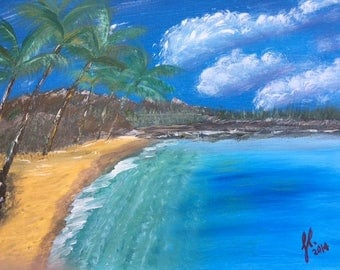 "Lazy Beach - wall décor acrylic painting, 16""x20"" canvas stretched/wrapped on 5/8"" bars"