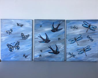 "Flutterings - 3-pc wall décor acrylic painting, 9""x12"" canvas stretched/wrapped on 5/8"" bars"