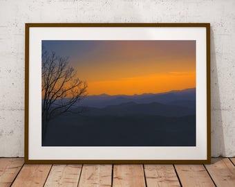 Mountains, Print, Nature, Landscape, Digital, Instant, Sunset, Blue Ridge Parkway